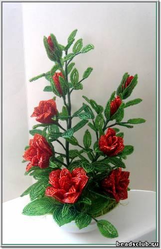 Поделки из бисера розу